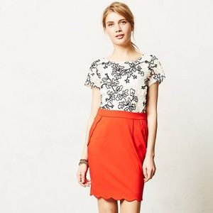 Anthro Red Scalloped Brink Pencil Skirt by Darling